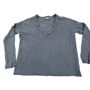 Standard James Perse Top 4 XL Gray Blue V-neck Sol